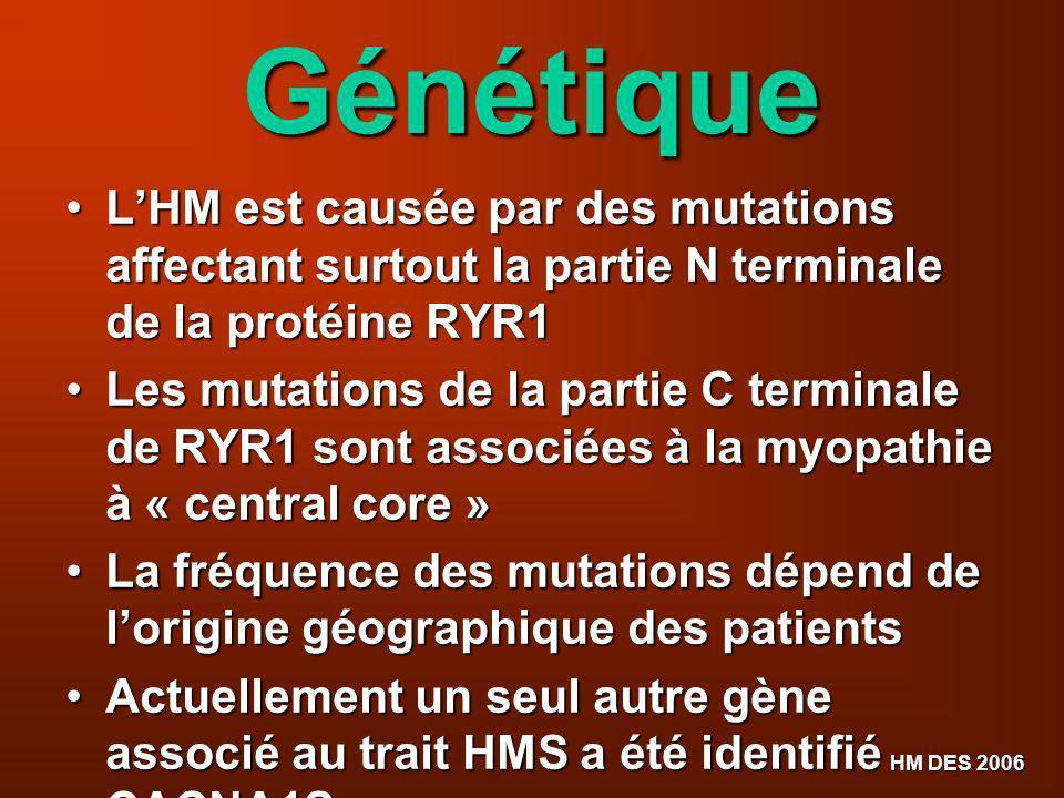 HM DES 2006 Génétique LHM est causée par des mutations affectant surtout la partie N terminale de la protéine RYR1 LHM est causée par des mutations af