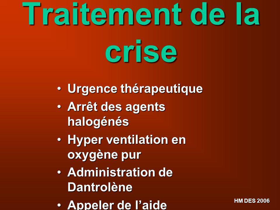 HM DES 2006 Traitement de la crise Urgence thérapeutique Urgence thérapeutique Arrêt des agents halogénés Arrêt des agents halogénés Hyper ventilation
