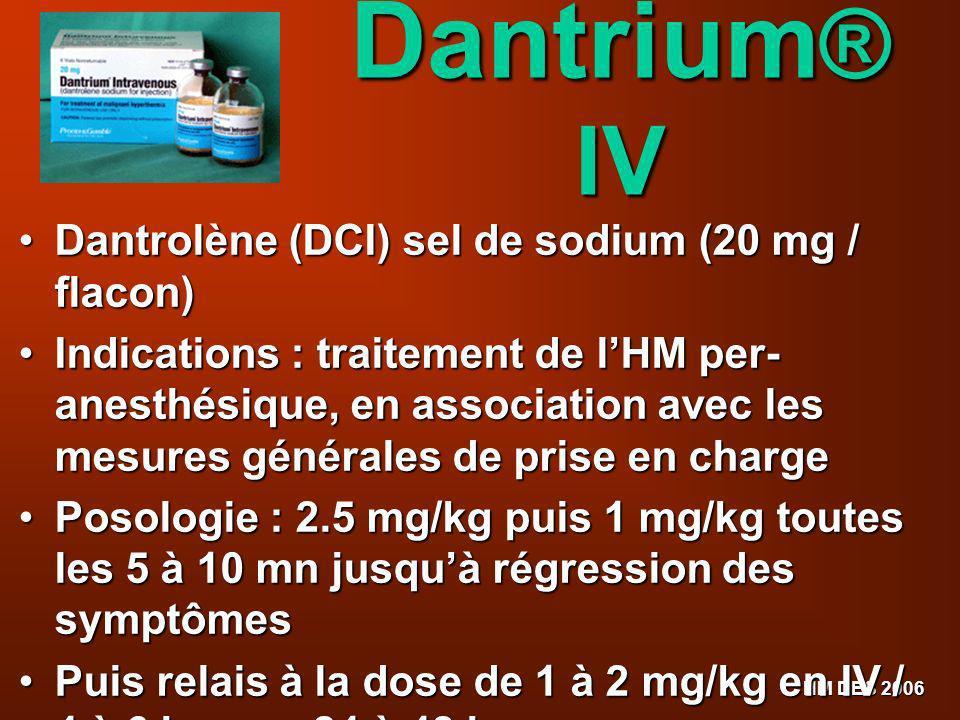 HM DES 2006 Dantrium ® IV Dantrolène (DCI) sel de sodium (20 mg / flacon) Dantrolène (DCI) sel de sodium (20 mg / flacon) Indications : traitement de