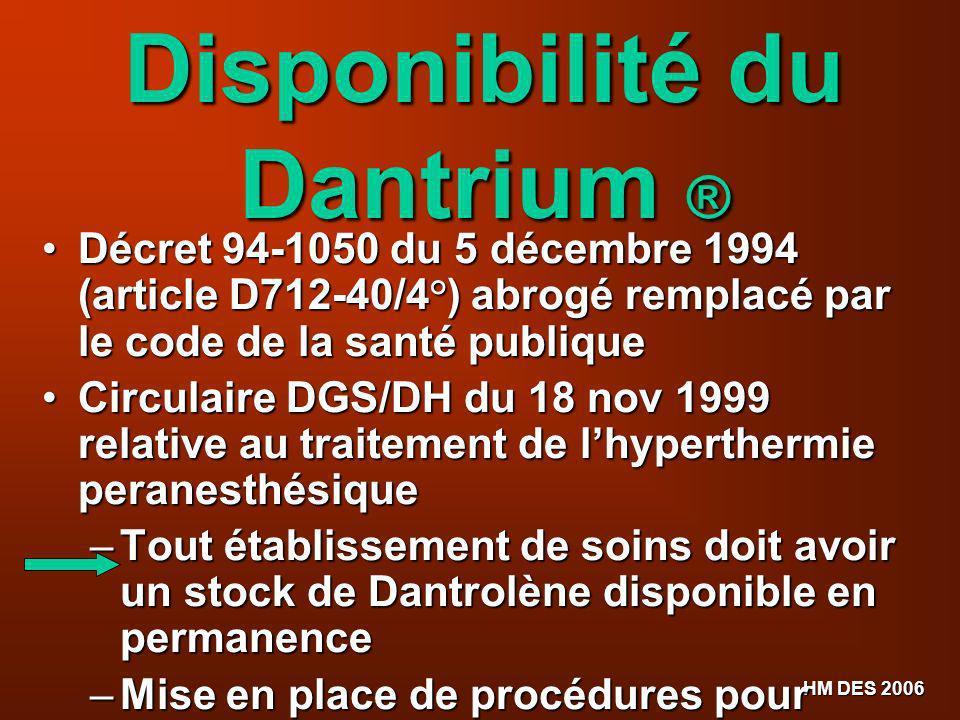 HM DES 2006 Disponibilité du Dantrium ® Décret 94-1050 du 5 décembre 1994 (article D712-40/4°) abrogé remplacé par le code de la santé publique Décret