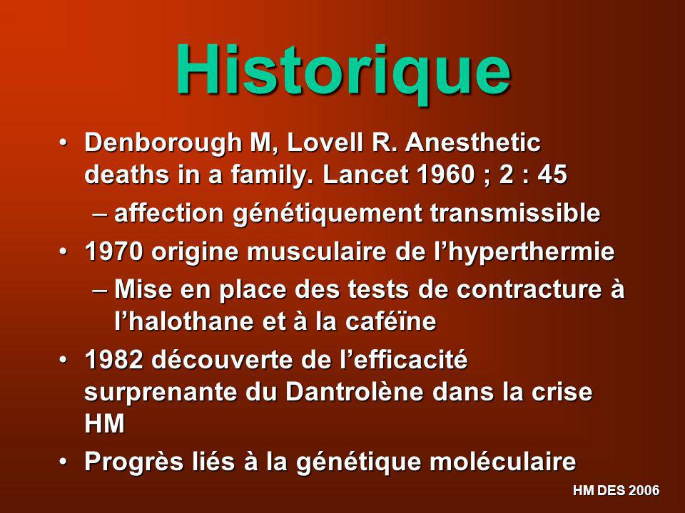 HM DES 2006 Historique Denborough M, Lovell R. Anesthetic deaths in a family. Lancet 1960 ; 2 : 45 Denborough M, Lovell R. Anesthetic deaths in a fami