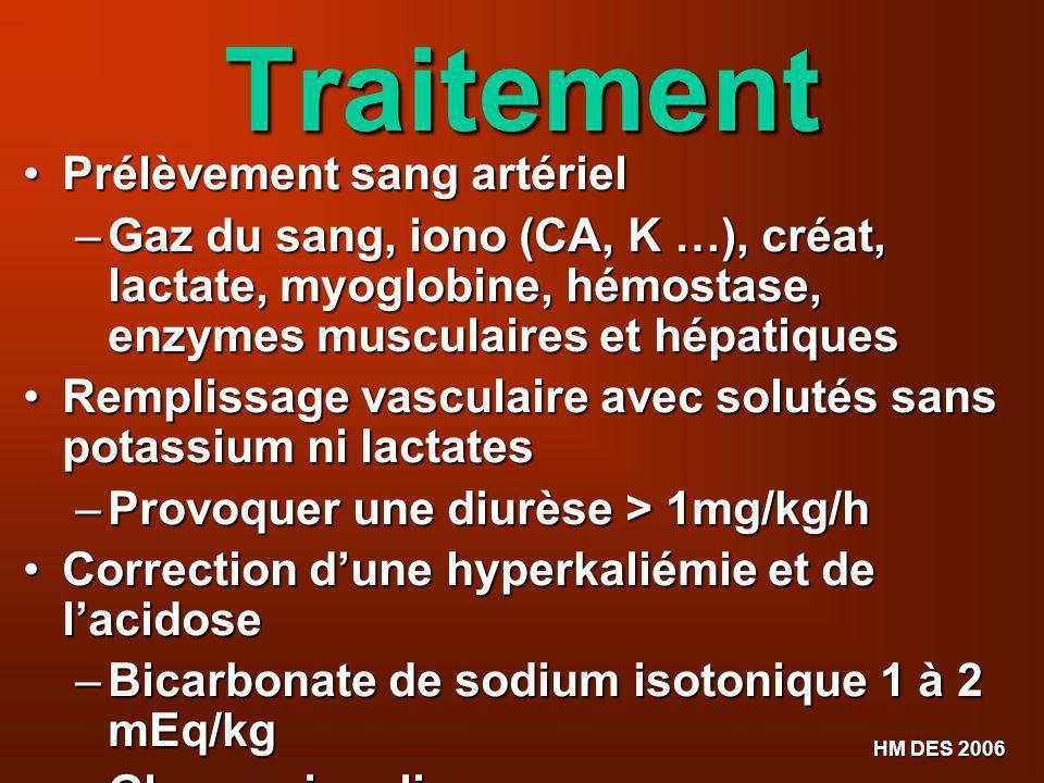 HM DES 2006 Traitement Prélèvement sang artériel Prélèvement sang artériel – Gaz du sang, iono (CA, K …), créat, lactate, myoglobine, hémostase, enzym