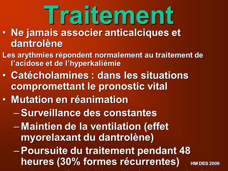 HM DES 2006Traitement Ne jamais associer anticalciques et dantrolène Ne jamais associer anticalciques et dantrolène Les arythmies répondent normalemen