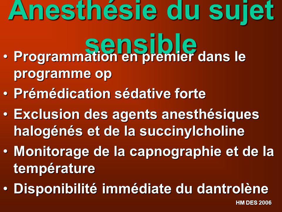 HM DES 2006 Anesthésie du sujet sensible Programmation en premier dans le programme op Programmation en premier dans le programme op Prémédication séd