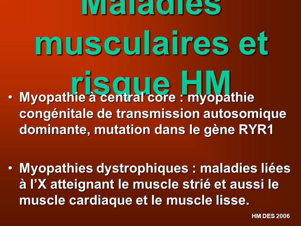 HM DES 2006 Maladies musculaires et risque HM Myopathie à central core : myopathie congénitale de transmission autosomique dominante, mutation dans le