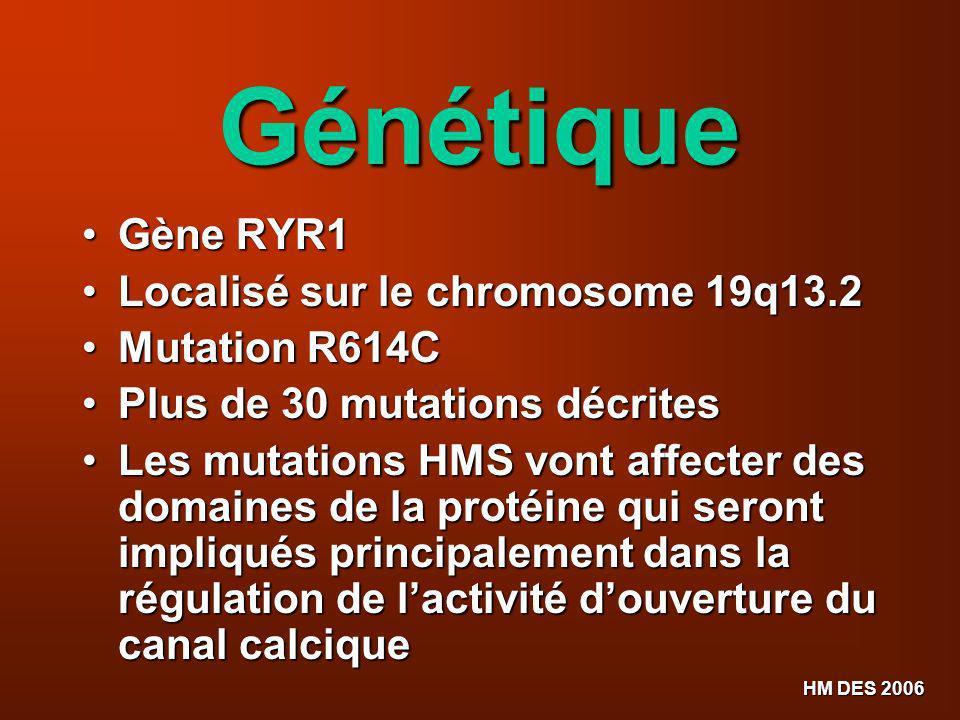 HM DES 2006 Génétique Gène RYR1 Gène RYR1 Localisé sur le chromosome 19q13.2 Localisé sur le chromosome 19q13.2 Mutation R614C Mutation R614C Plus de