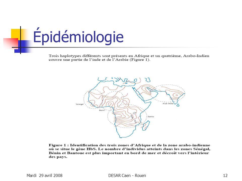 Mardi 29 avril 2008DESAR Caen - Rouen12 Épidémiologie
