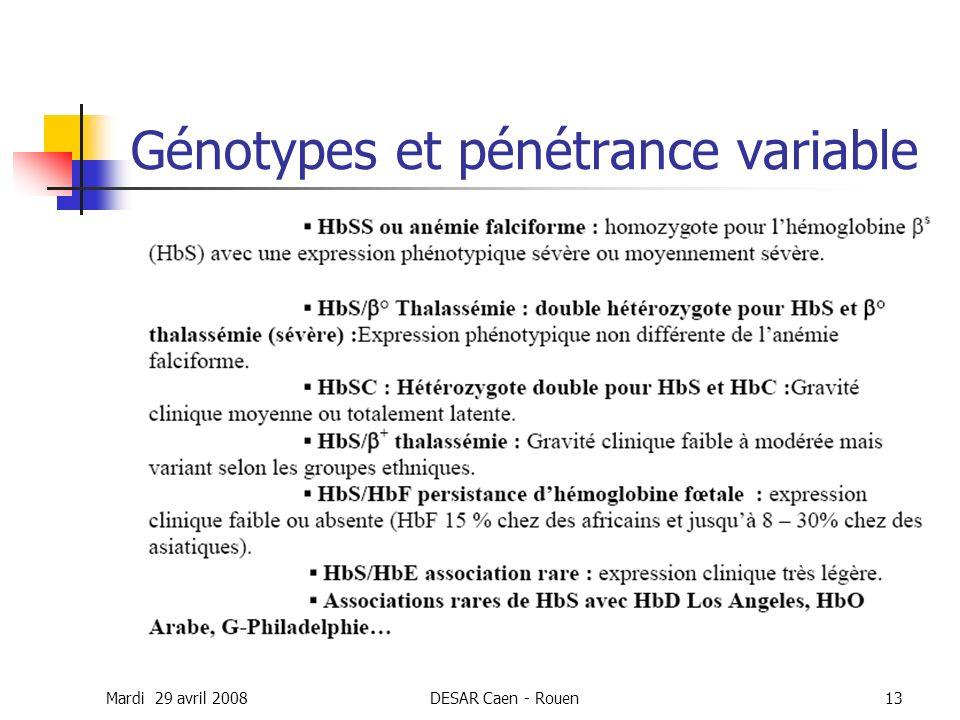 Mardi 29 avril 2008DESAR Caen - Rouen13 Génotypes et pénétrance variable