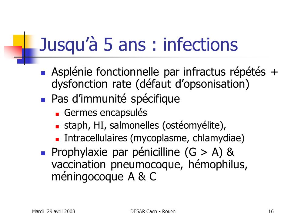 Mardi 29 avril 2008DESAR Caen - Rouen16 Jusquà 5 ans : infections Asplénie fonctionnelle par infractus répétés + dysfonction rate (défaut dopsonisatio