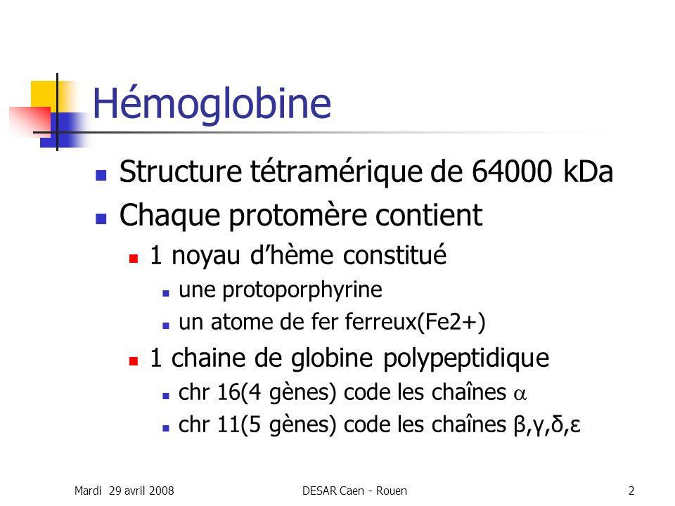 Mardi 29 avril 2008DESAR Caen - Rouen2 Hémoglobine Structure tétramérique de 64000 kDa Chaque protomère contient 1 noyau dhème constitué une protoporp