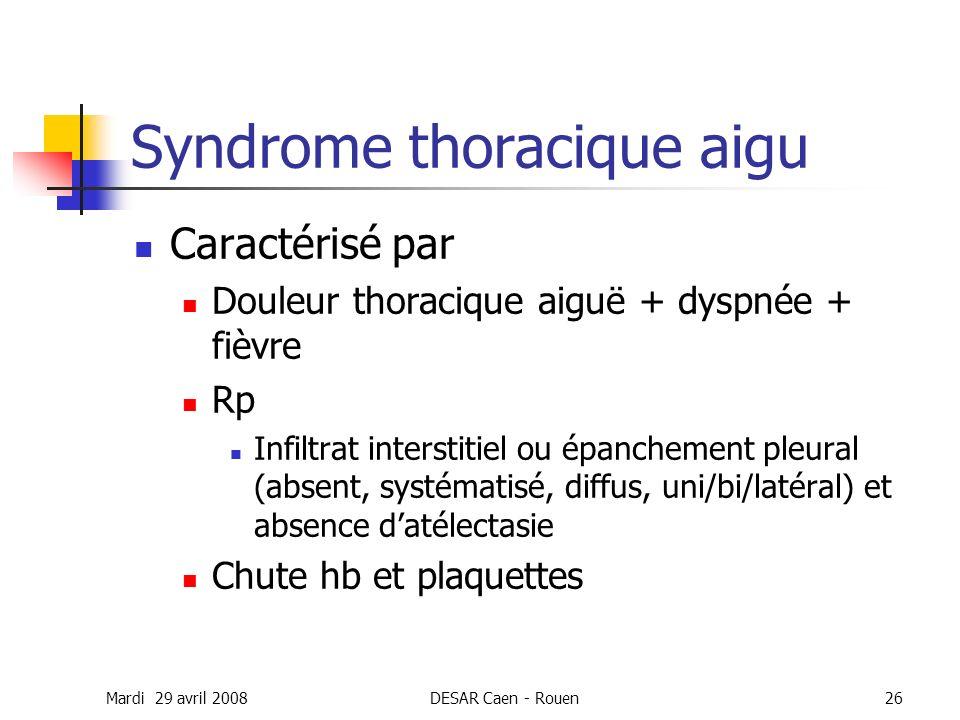 Mardi 29 avril 2008DESAR Caen - Rouen26 Syndrome thoracique aigu Caractérisé par Douleur thoracique aiguë + dyspnée + fièvre Rp Infiltrat interstitiel