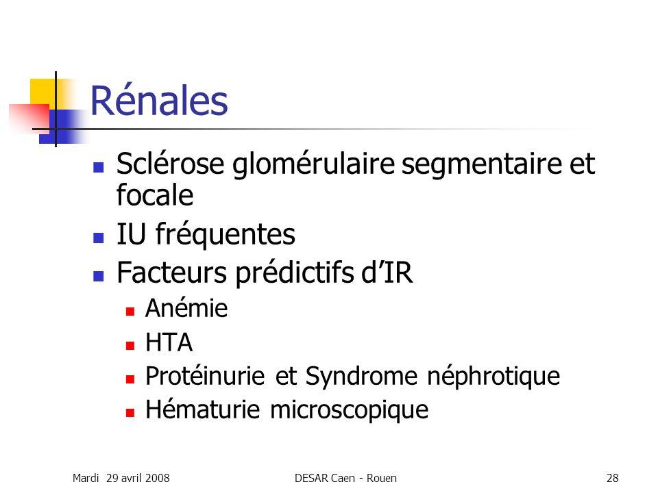 Mardi 29 avril 2008DESAR Caen - Rouen28 Rénales Sclérose glomérulaire segmentaire et focale IU fréquentes Facteurs prédictifs dIR Anémie HTA Protéinur