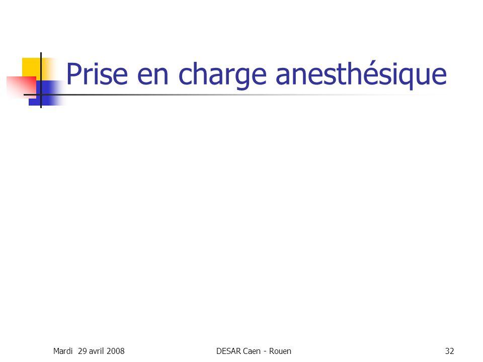 Mardi 29 avril 2008DESAR Caen - Rouen32 Prise en charge anesthésique