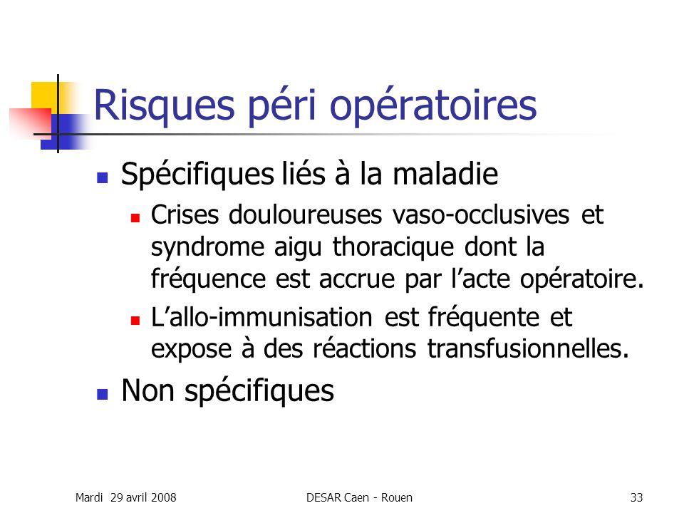 Mardi 29 avril 2008DESAR Caen - Rouen33 Risques péri opératoires Spécifiques liés à la maladie Crises douloureuses vaso-occlusives et syndrome aigu th