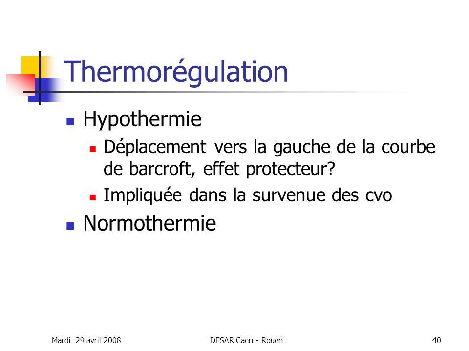 Mardi 29 avril 2008DESAR Caen - Rouen40 Thermorégulation Hypothermie Déplacement vers la gauche de la courbe de barcroft, effet protecteur? Impliquée