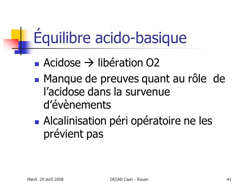 Mardi 29 avril 2008DESAR Caen - Rouen41 Équilibre acido-basique Acidose libération O2 Manque de preuves quant au rôle de lacidose dans la survenue dév