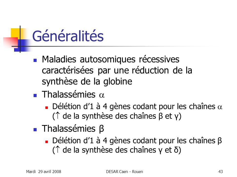 Mardi 29 avril 2008DESAR Caen - Rouen43 Généralités Maladies autosomiques récessives caractérisées par une réduction de la synthèse de la globine Thal
