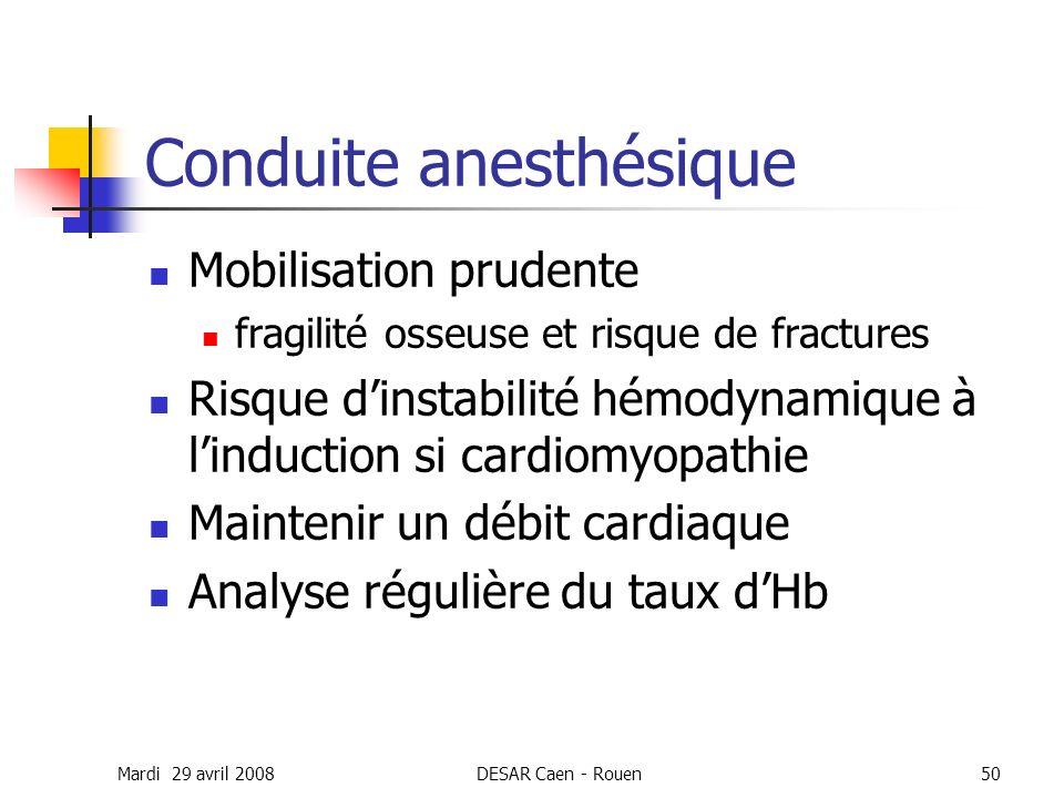 Mardi 29 avril 2008DESAR Caen - Rouen50 Conduite anesthésique Mobilisation prudente fragilité osseuse et risque de fractures Risque dinstabilité hémod