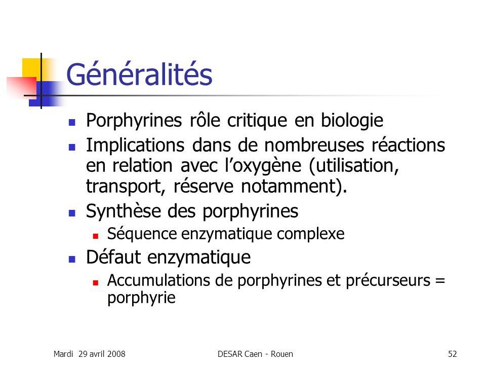 Mardi 29 avril 2008DESAR Caen - Rouen52 Généralités Porphyrines rôle critique en biologie Implications dans de nombreuses réactions en relation avec l