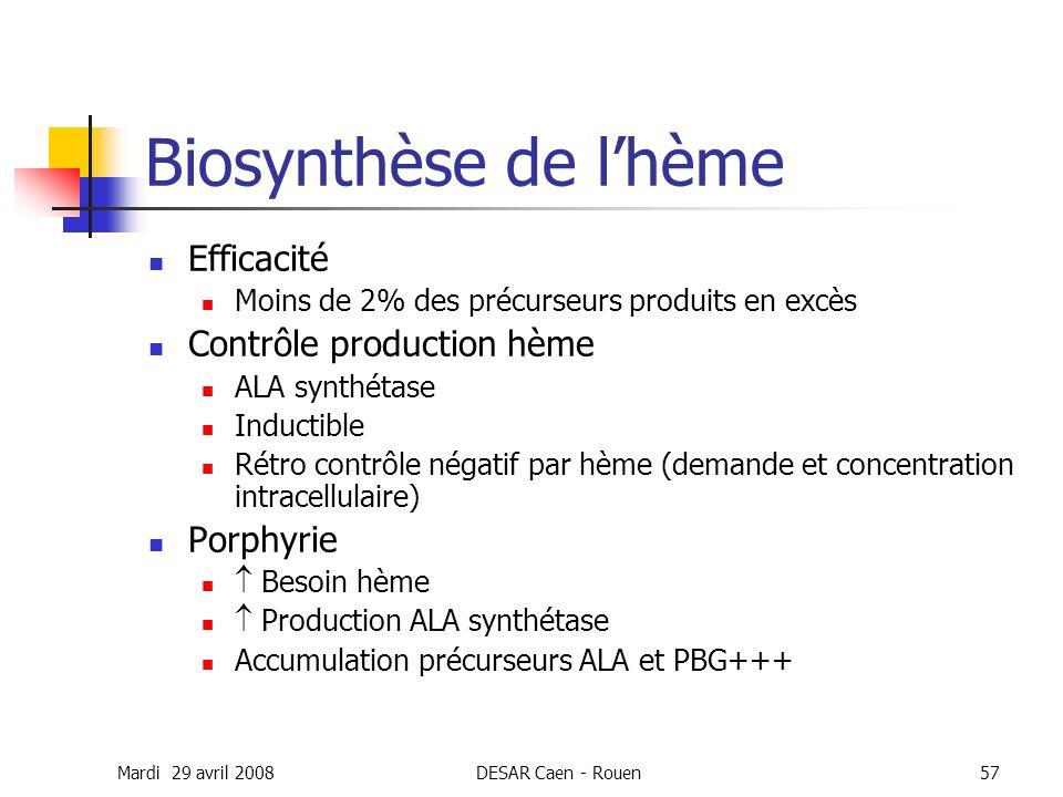 Mardi 29 avril 2008DESAR Caen - Rouen57 Biosynthèse de lhème Efficacité Moins de 2% des précurseurs produits en excès Contrôle production hème ALA syn