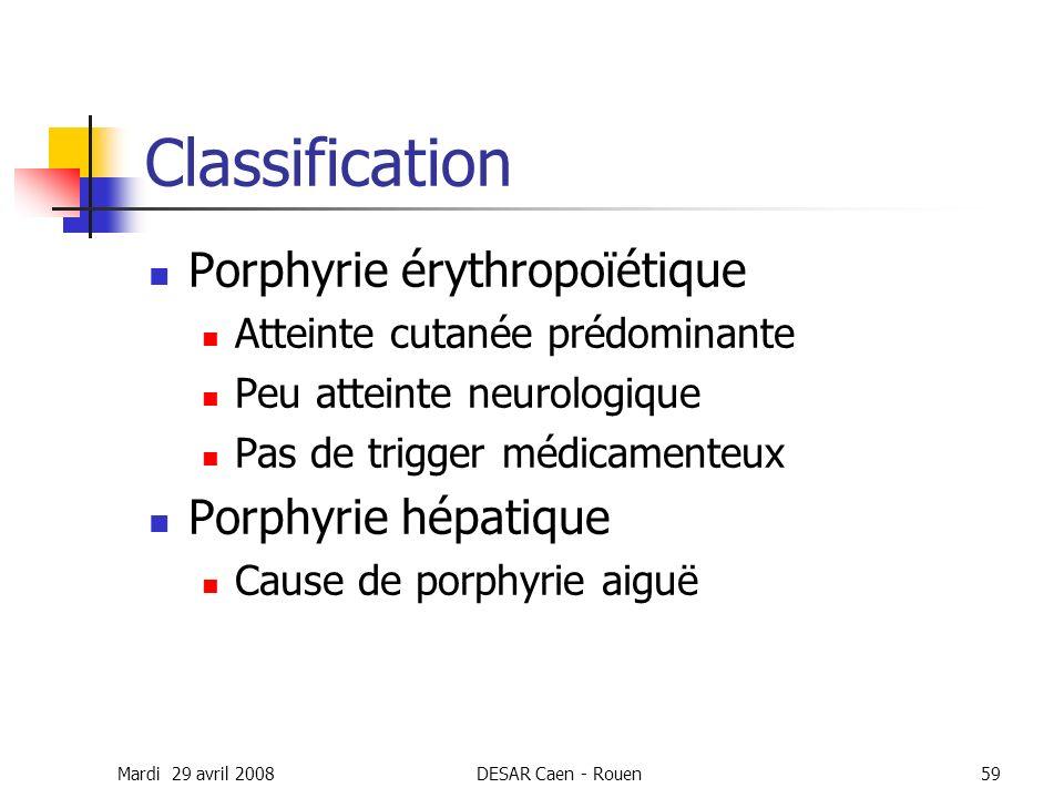 Mardi 29 avril 2008DESAR Caen - Rouen59 Classification Porphyrie érythropoïétique Atteinte cutanée prédominante Peu atteinte neurologique Pas de trigg