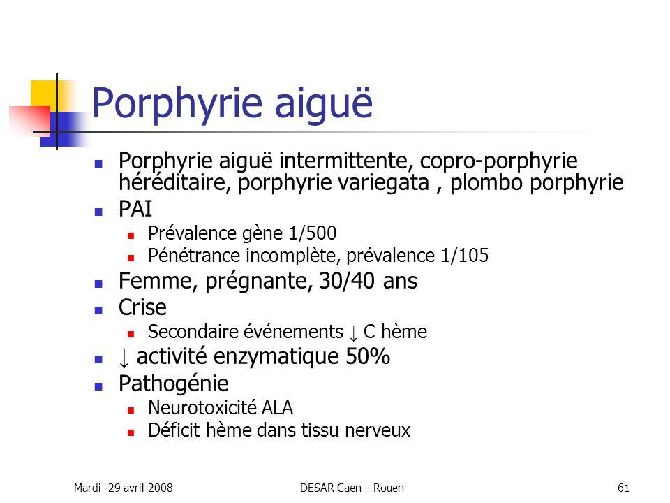 Mardi 29 avril 2008DESAR Caen - Rouen61 Porphyrie aiguë Porphyrie aiguë intermittente, copro-porphyrie héréditaire, porphyrie variegata, plombo porphy