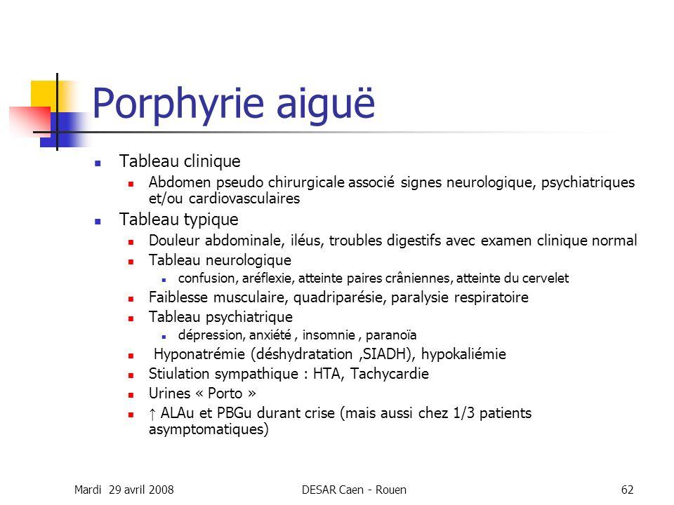 Mardi 29 avril 2008DESAR Caen - Rouen62 Porphyrie aiguë Tableau clinique Abdomen pseudo chirurgicale associé signes neurologique, psychiatriques et/ou