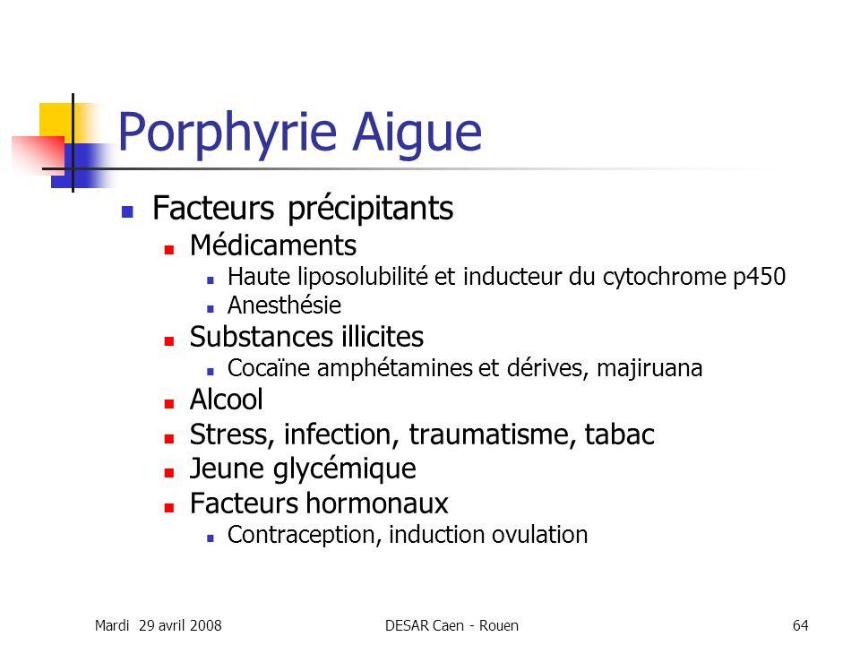 Mardi 29 avril 2008DESAR Caen - Rouen64 Porphyrie Aigue Facteurs précipitants Médicaments Haute liposolubilité et inducteur du cytochrome p450 Anesthé