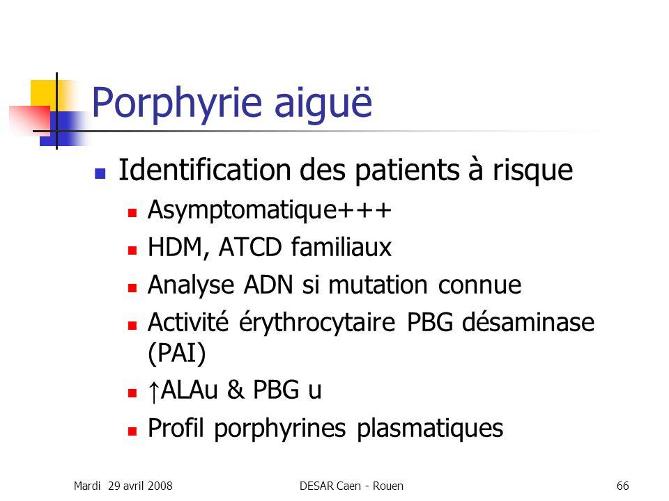 Mardi 29 avril 2008DESAR Caen - Rouen66 Porphyrie aiguë Identification des patients à risque Asymptomatique+++ HDM, ATCD familiaux Analyse ADN si muta