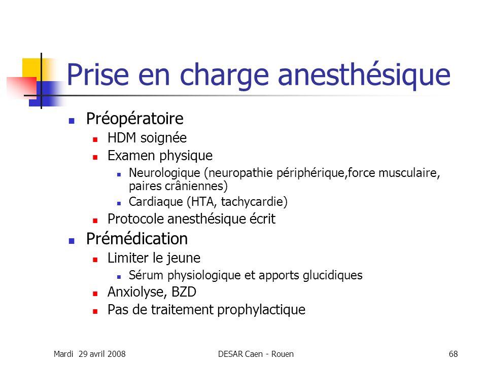 Mardi 29 avril 2008DESAR Caen - Rouen68 Prise en charge anesthésique Préopératoire HDM soignée Examen physique Neurologique (neuropathie périphérique,