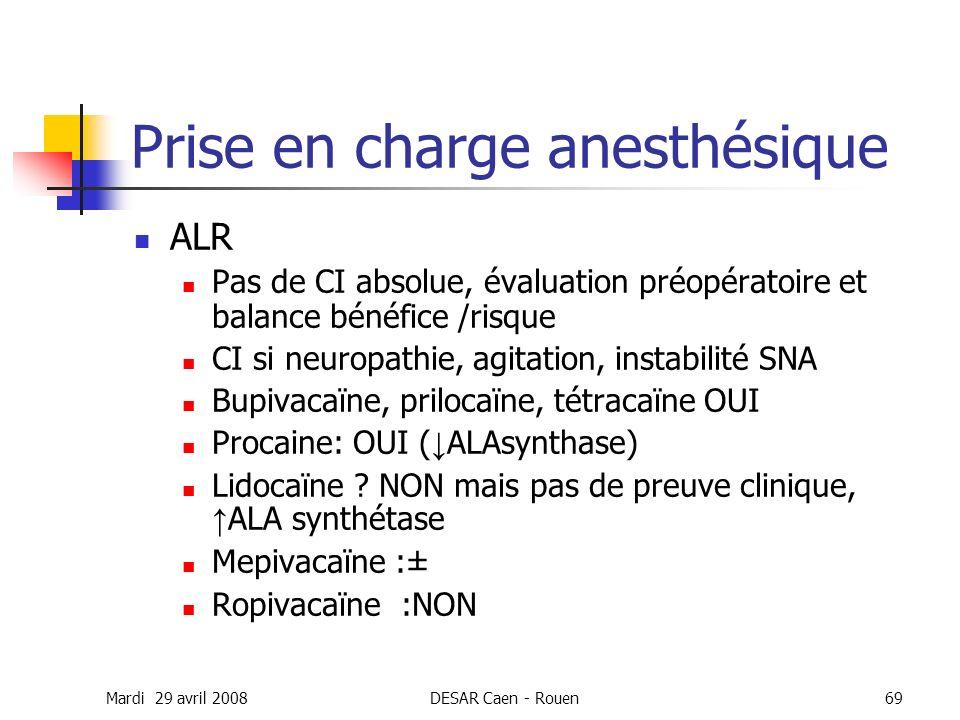 Mardi 29 avril 2008DESAR Caen - Rouen69 Prise en charge anesthésique ALR Pas de CI absolue, évaluation préopératoire et balance bénéfice /risque CI si