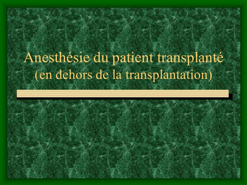 1- ciclosporine Daprès KOSTOPANAGIOTOU G et coll. Anesth Analg 1999; 89:613-22