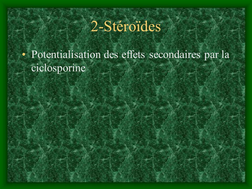2-Stéroïdes Potentialisation des effets secondaires par la ciclosporine