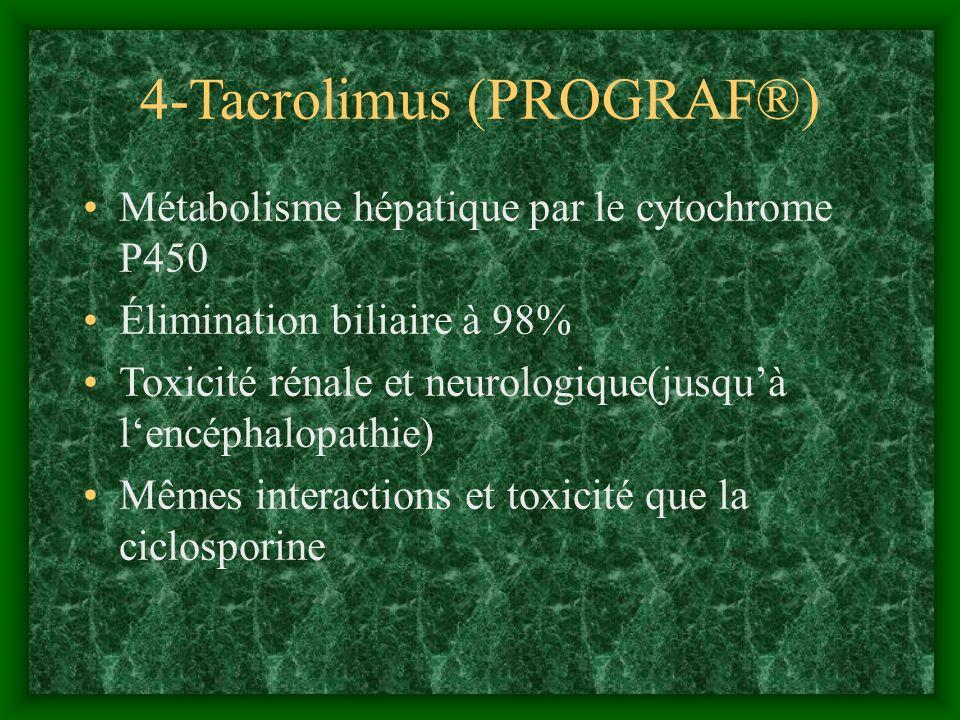 4-Tacrolimus (PROGRAF®) Métabolisme hépatique par le cytochrome P450 Élimination biliaire à 98% Toxicité rénale et neurologique(jusquà lencéphalopathi