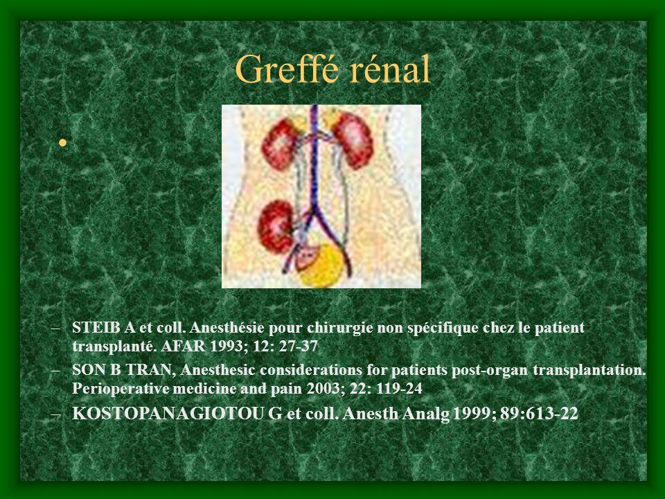 Greffé rénal –STEIB A et coll. Anesthésie pour chirurgie non spécifique chez le patient transplanté. AFAR 1993; 12: 27-37 –SON B TRAN, Anesthesic cons