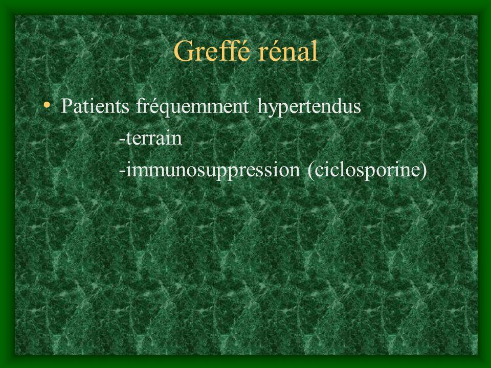 Greffé rénal Patients fréquemment hypertendus -terrain -immunosuppression (ciclosporine)