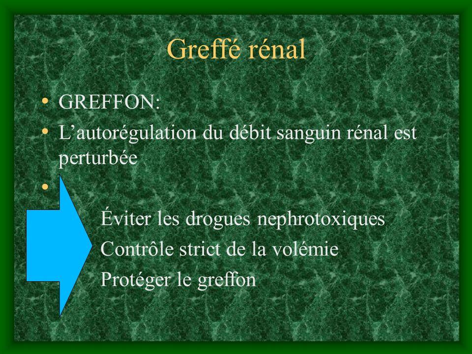 Greffé rénal GREFFON: Lautorégulation du débit sanguin rénal est perturbée Éviter les drogues nephrotoxiques Contrôle strict de la volémie Protéger le