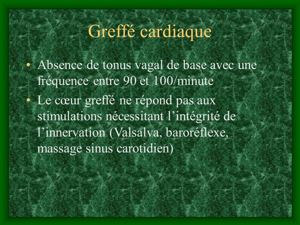 Greffé cardiaque Absence de tonus vagal de base avec une fréquence entre 90 et 100/minute Le cœur greffé ne répond pas aux stimulations nécessitant li