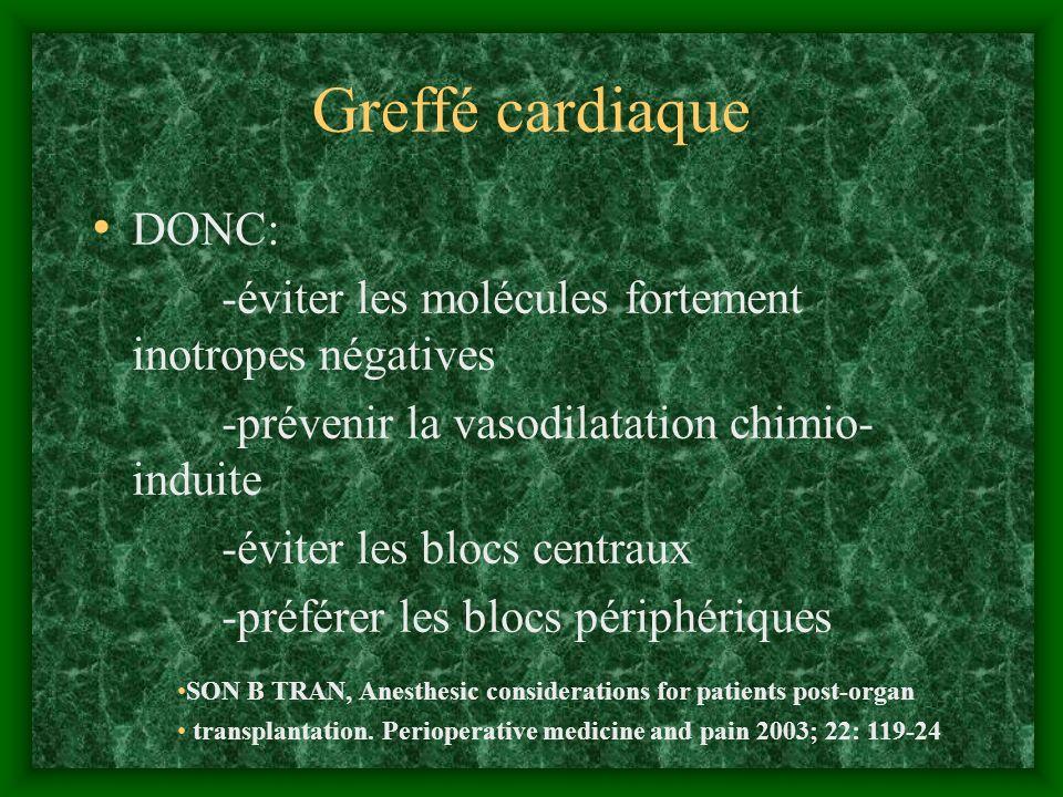 Greffé cardiaque DONC: -éviter les molécules fortement inotropes négatives -prévenir la vasodilatation chimio- induite -éviter les blocs centraux -pré