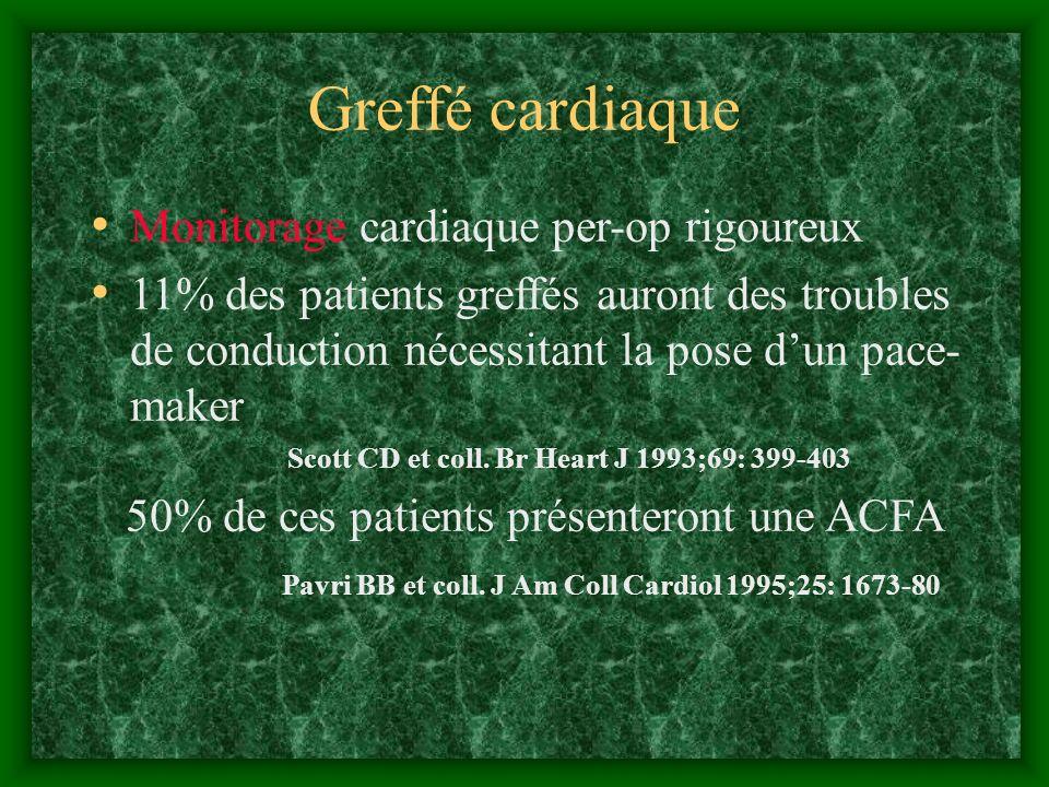 Greffé cardiaque Monitorage cardiaque per-op rigoureux 11% des patients greffés auront des troubles de conduction nécessitant la pose dun pace- maker