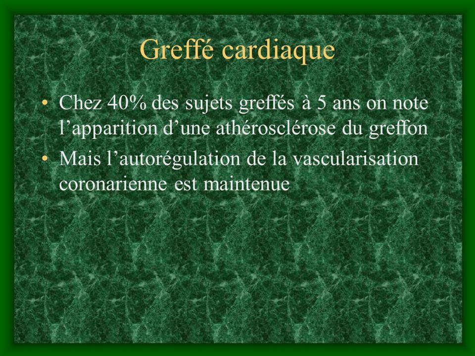 Greffé cardiaque Chez 40% des sujets greffés à 5 ans on note lapparition dune athérosclérose du greffon Mais lautorégulation de la vascularisation cor