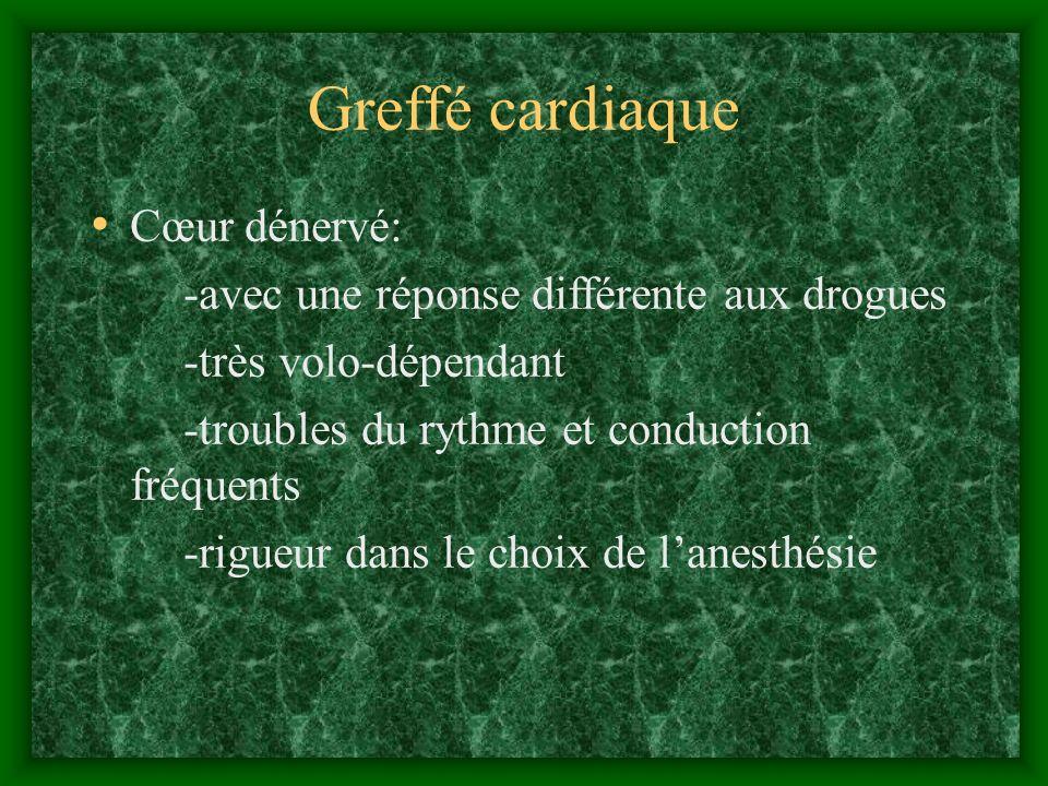 Greffé cardiaque Cœur dénervé: -avec une réponse différente aux drogues -très volo-dépendant -troubles du rythme et conduction fréquents -rigueur dans