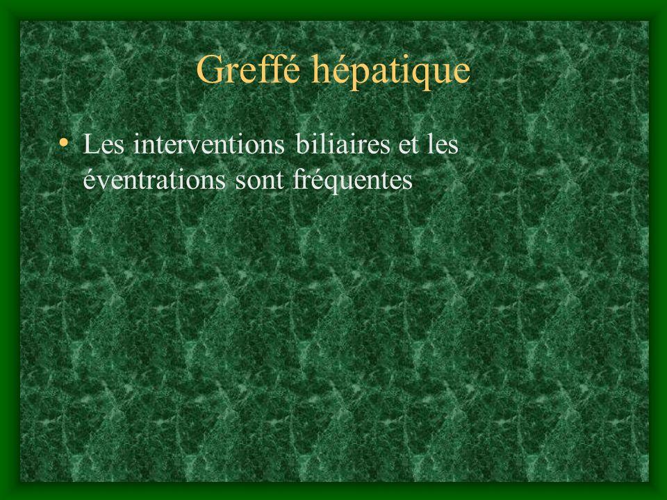 Greffé hépatique Les interventions biliaires et les éventrations sont fréquentes