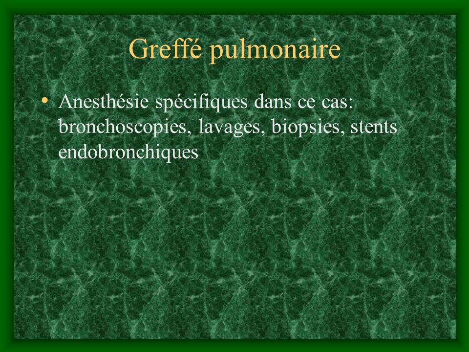 Greffé pulmonaire Anesthésie spécifiques dans ce cas: bronchoscopies, lavages, biopsies, stents endobronchiques