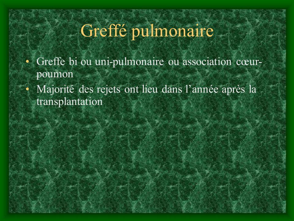 Greffé pulmonaire Greffe bi ou uni-pulmonaire ou association cœur- poumon Majorité des rejets ont lieu dans lannée après la transplantation