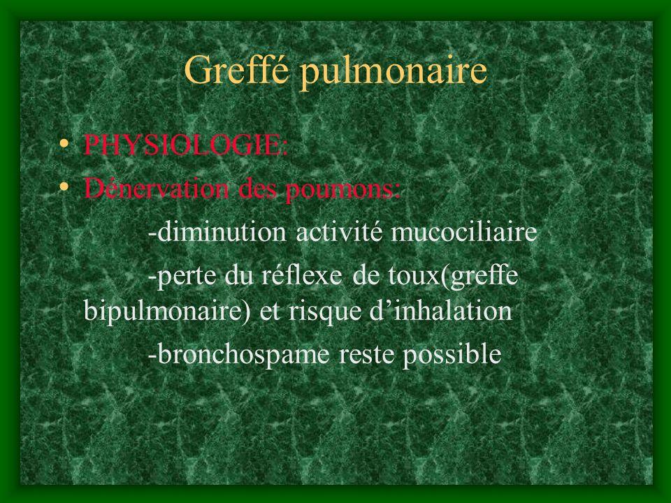 Greffé pulmonaire PHYSIOLOGIE: Dénervation des poumons: -diminution activité mucociliaire -perte du réflexe de toux(greffe bipulmonaire) et risque din