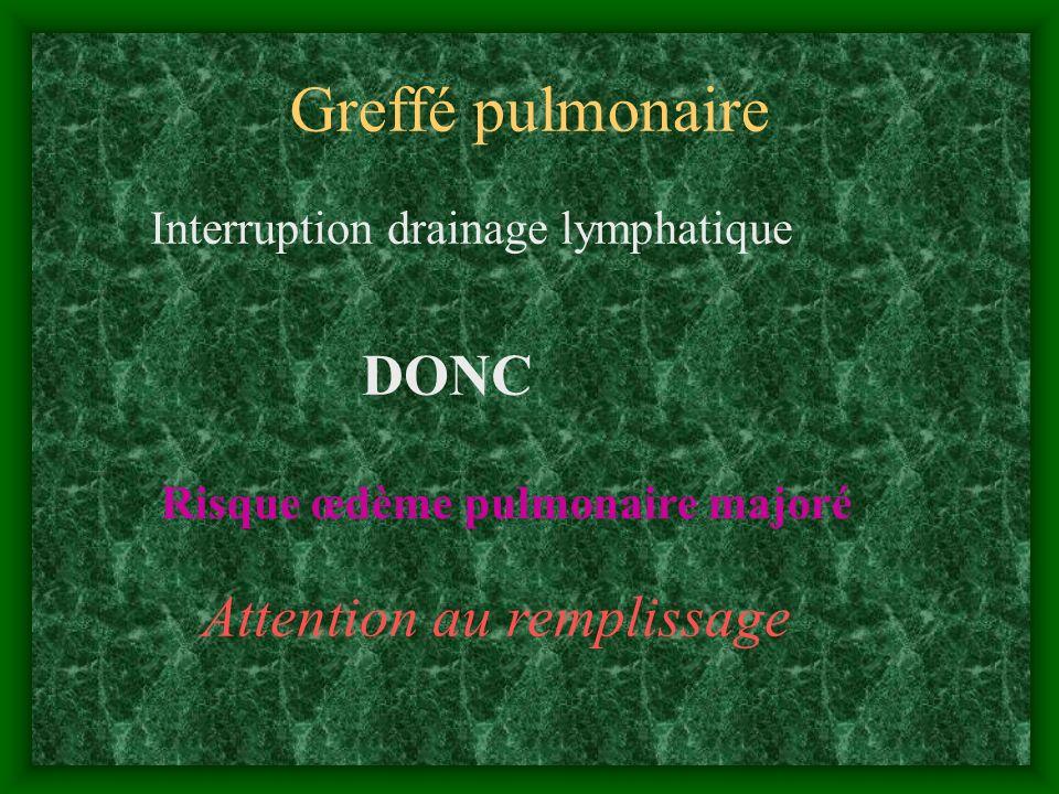 Greffé pulmonaire Interruption drainage lymphatique DONC Risque œdème pulmonaire majoré Attention au remplissage