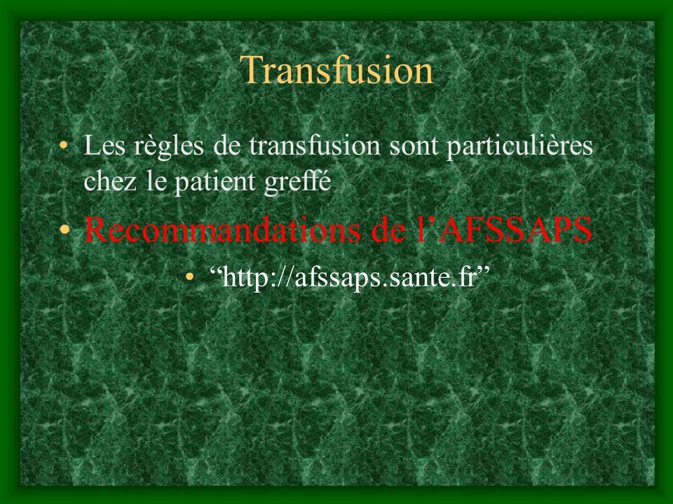 Transfusion Les règles de transfusion sont particulières chez le patient greffé Recommandations de lAFSSAPS http://afssaps.sante.fr