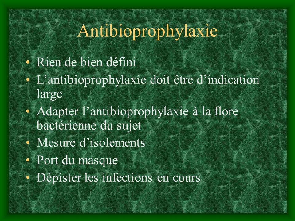 Antibioprophylaxie Rien de bien défini Lantibioprophylaxie doit être dindication large Adapter lantibioprophylaxie à la flore bactérienne du sujet Mes