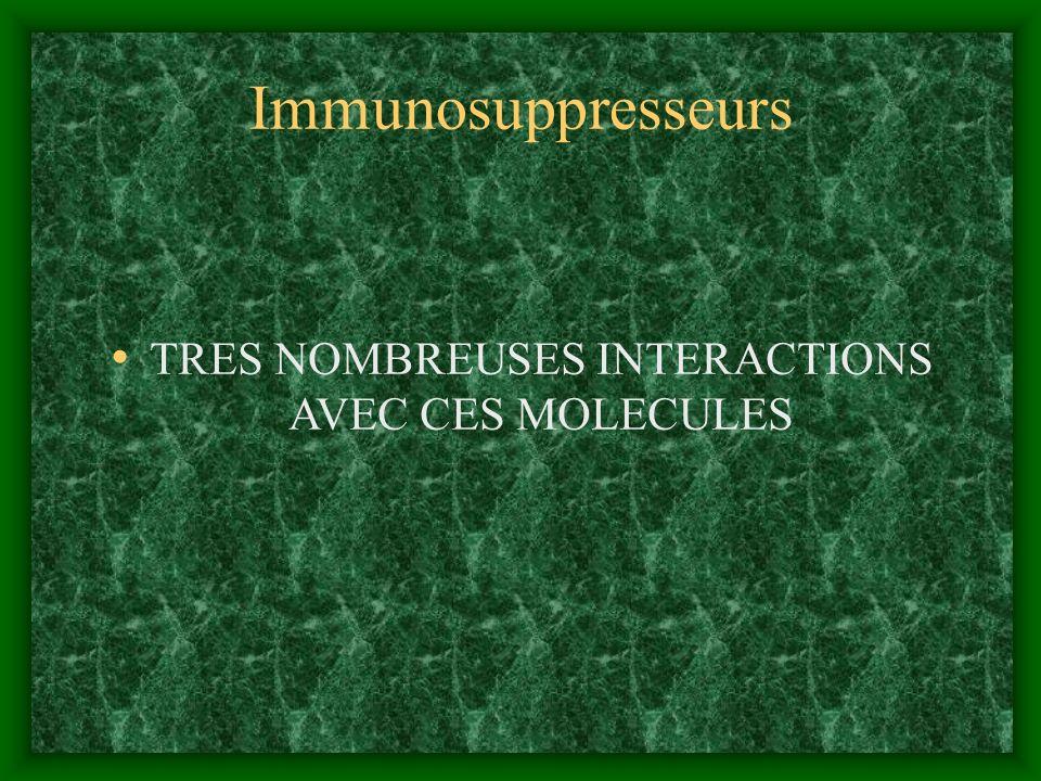 Immunosuppresseurs TRES NOMBREUSES INTERACTIONS AVEC CES MOLECULES